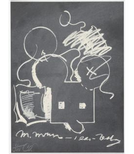 Claes Oldenburg, M.Mouse (with) 1 Ear (equals) Tea Bag Blackboard Version (1965), 1973