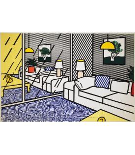 Roy Lichtenstein, Wallpaper with Blue Floor Interior, 1992